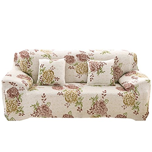 Copridivano con stampa a fiori da 1,2,3 e4posti in tessuto elasticizzato poliestere ed elastam., sycamore evening sakura, 3 sweater