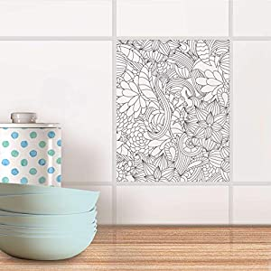 creatisto Bad-Fliesen Mosaik-Fliesen I Muster-Aufkleber Folie Sticker Küchenfolie Wanddeko I 20x25 cm Muster Ornament Flower Lines 2-1 Stück