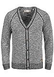 !Solid Thiamin Herren Strickjacke Cardigan Feinstrick Mit V-Ausschnitt und Knopfleiste Aus 100% Baumwolle, Größe:L, Farbe:Black (9000)