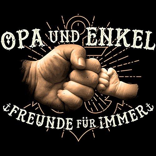 Fashionalarm Herren T-Shirt - Opa & Enkel - Freunde für immer | Fun Shirt mit Motiv & coolem Spruch Geschenk Idee Geburt Junge Enkelsohn Kind Baby Schwarz