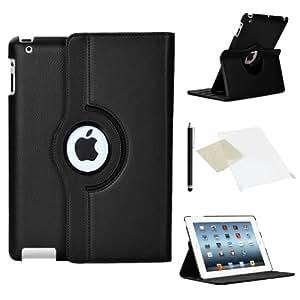 AM IPADBLACKLEAHER Housse pour iPad 2/3/4 Motif Noir