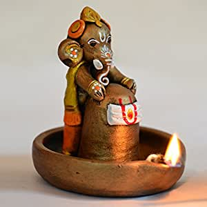ExclusiveLane Terracotta Handpainted Copper Finish Baby Decorative Ganesha Holding Lord Shiva In Pound -Idols And Figurines Showpieces Home Decor
