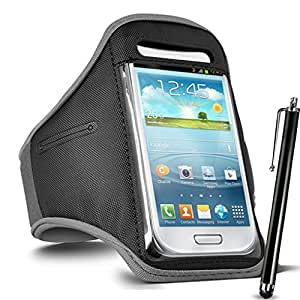 GBOS Sony Xperia X Adjustable Armband Gym Running Jogging Sports Case Cover Holder With Touch Stylus pen Brown