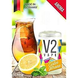 V2 Vape Eistee-Zitrone AROMA / KONZENTRAT hochdosiertes Premium Lebensmittel-Aroma zum selber mischen von E-Liquid / Liquid-Base für E-Zigarette und E-Shisha 10ml 0mg nikotinfrei