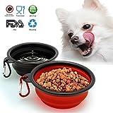 TSH Comprimibile Viaggio in Silicone Cane Ciotola Portatile Pet Cat Cibo Ciotola di Alimentazione Dell'acqua, Set di 2 (Rosso-Nero)