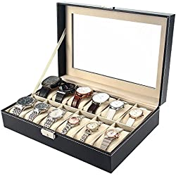 MelodySusie Watch Display Box / Watch Case for Men High Grade Luxurious Faux Leather with Glass Cover / 12 Slots Watch Storage Box