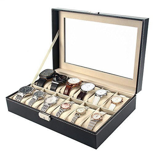 melodysusie-watch-display-box-watch-case-for-men-high-grade-luxurious-faux-leather-with-glass-cover-