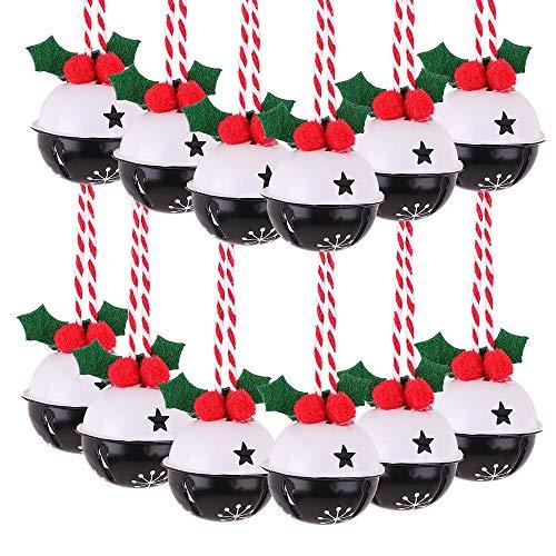 Victor's Workshop 12Pcs Metal Christmas Decorations, Black White Christmas Jingle Bells Hanging Pendants for Christmas Tree Decorations