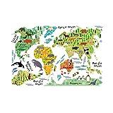 Ballylelly Tier Weltkarte Wandaufkleber 90 * 60 CM Wasserdicht Abnehmbare Dekoration Aufkleber für Kinder Zimmer Kindergarten Kinder Arbeitszimmer