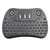 Auenliphto rétroéclairé Air Mouse clavier sans fil avec télécommande infrarouge Mouse Combo 2,4GHz souris Touchpad Combo Meilleur pour Android TV Box HTPC IPTV (Noir)