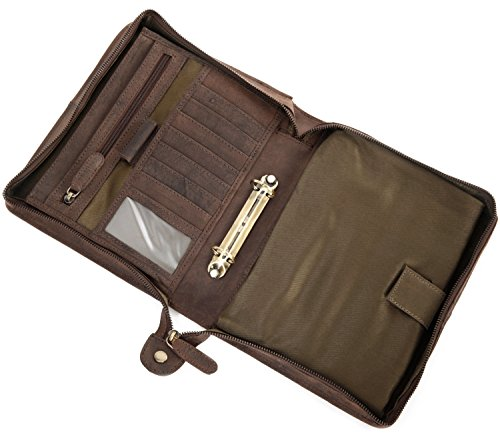 LEABAGS Jakarta Schreibmappe aus echtem Kalbs-Leder im Vintage Look - Muskat (Braun Leder Kalb)