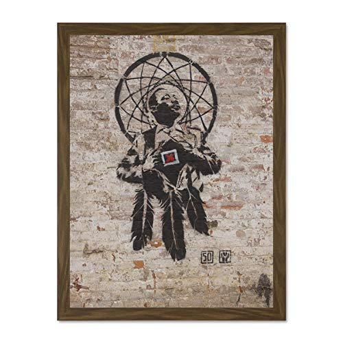 Doppelganger33 LTD Banksy Style Dr Luther King Junior Graffiti Large Framed Art Print Poster Wall Decor 18x24 inch Supplied Ready to Hang