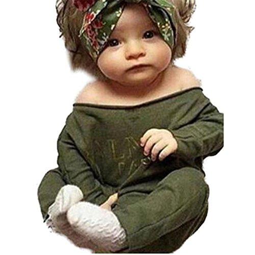 aby Girl Clothes Long Sleeve Off Shoulder Romper Jumpsuit (Größe: 1`2 Monate, Grün) (1 2 Off-halloween-dekoration)