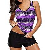 MRULIC Badeanzug 2 Stück Damen Tankini Swim Kleid Beachwear Gefärbt Charmant Bademode Plus Size Bikisuit(Z-Violett,EU-44/CN-2XL)