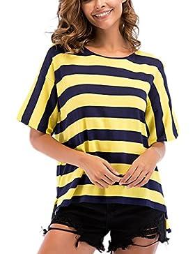 YunPeng Camiseta de Manga Corta en Color Mujer con Contraste - Camisa de Rayas Amarillas y Verdes