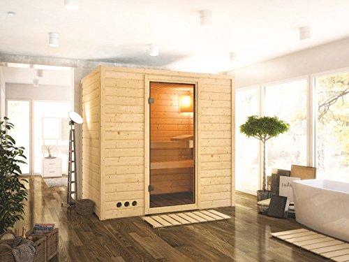 Massivholz Sauna Koski 196cm x 144cm x 200cm inkl. Zubehörset 9kW Saunaofen