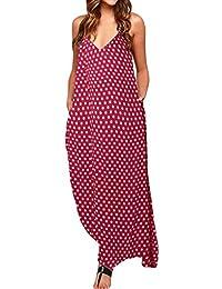 2b0a90bcd33 ZANZEA Women s V Neck Long Maxi Dress Sleeveless Baggy Polka Dot Boho Casual  Beach Dress Kaftan