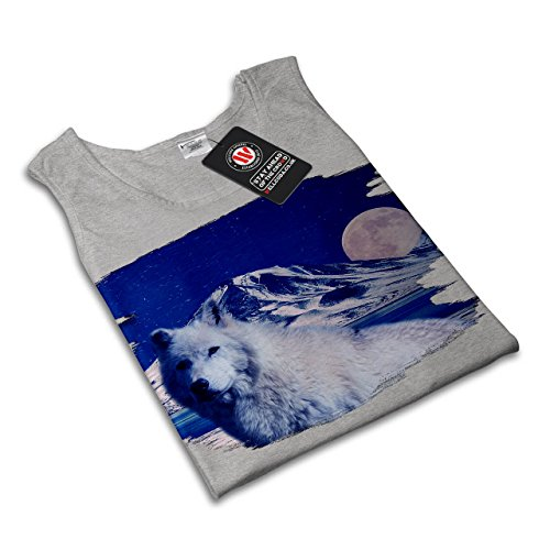 Weiß Wolf Natur Wild Tier Damen S-2XL Muskelshirt | Wellcoda Grau
