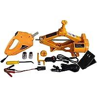 YASI MFG Automatique Ciseau Lifter Jack 2,5Tonnes Jack kit pour Voiture et SUV + Clé à Choc électrique + Double Têtes + Poignée Manivelle Jaune