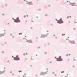 Unbekannt Cretonne Baby Hase – rosa — Meterware ab 0,5 m — Oeko-Tex Standard 100 — zum Nähen von Babydeko, Kinderartikeln und Bettwäsche