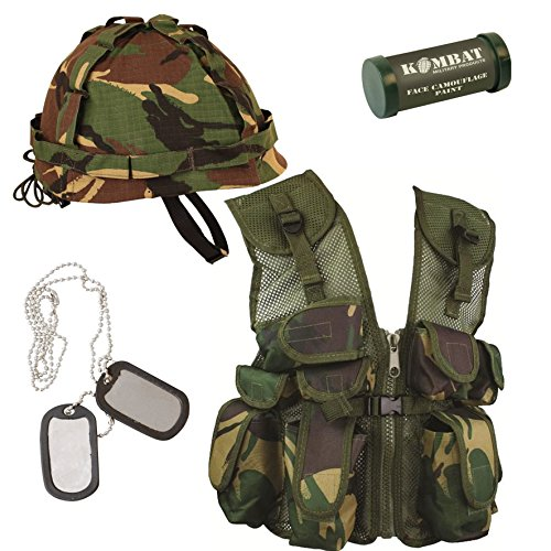 Camo Commando Kostüm - Kids Army Gift Set , British