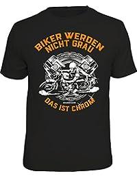 Original RAHMENLOS® Geschenk-T-Shirt für den etwas älteren Motorradfahrer: Biker werden nicht grau - ist Chrom