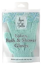 Spa Bella Exfoliating Bath & Shower Gloves, Blue