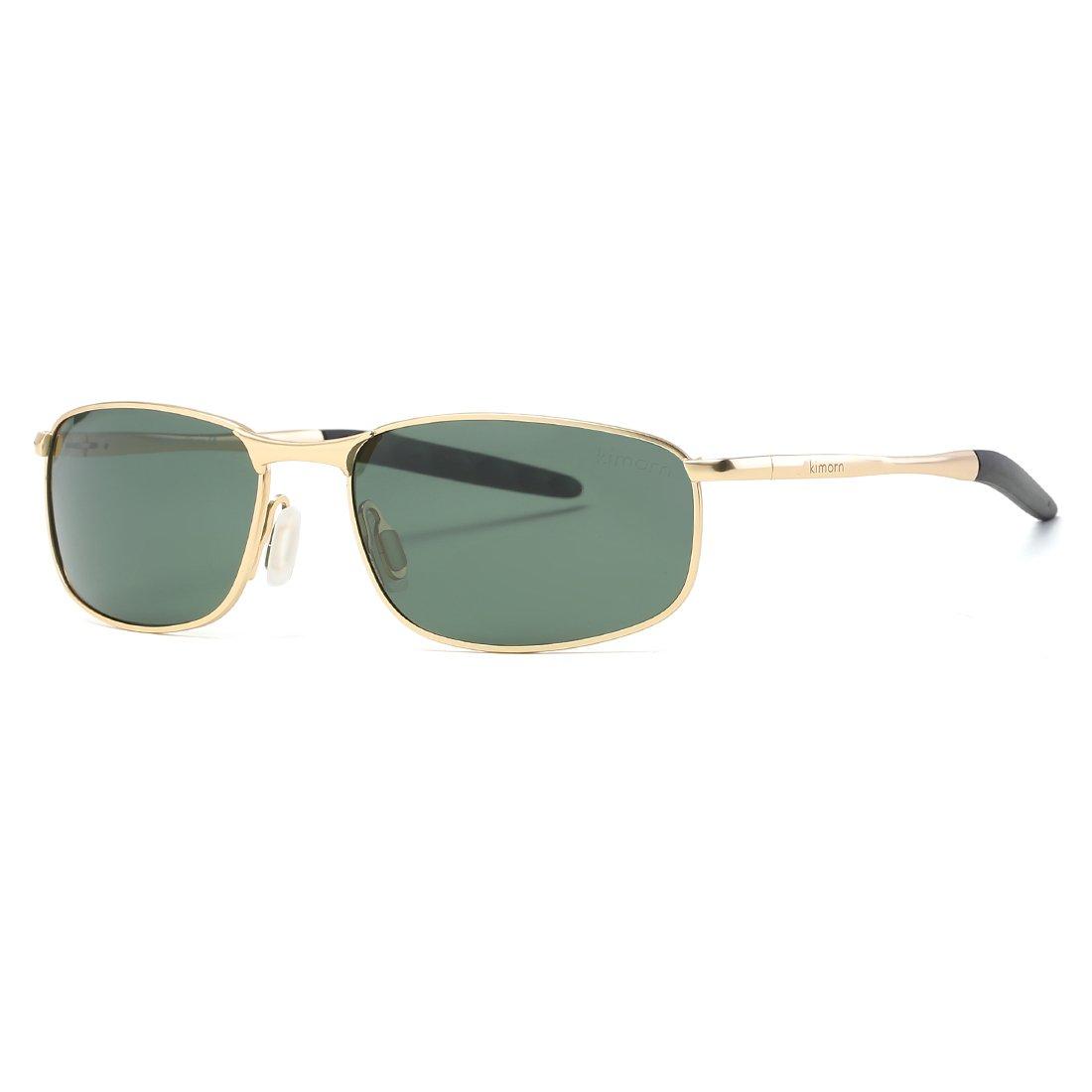 Kimorn Polarisierte Sonnenbrille Herren Rechteckig Metall Rahmen Unisex Gläser K0559 (Grau&Schwarz) sPWhQG1nLM