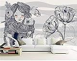 HONGYAUNZHANG Einfache Persönlichkeit Mädchen Benutzerdefinierte Fototapete 3D Stereoskopischen Wand Wohnzimmer Schlafzimmer Sofa Hintergrund Wand Wandbilder,290Cm (H) X 370Cm (W)