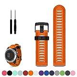 Bracelet de rechange iFeeker - Pour montre Garmin Fenix 3/3 HR Multisport avec GPS - En gel de silicone souple Taille unique Orange