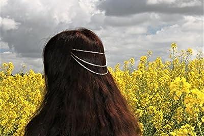 Bijou chaînes de cheveux/accessoire romantique/bijou de tête argenté/décoration de tête/coiffe femme/mariage/ coiffure demoiselle d'honneur