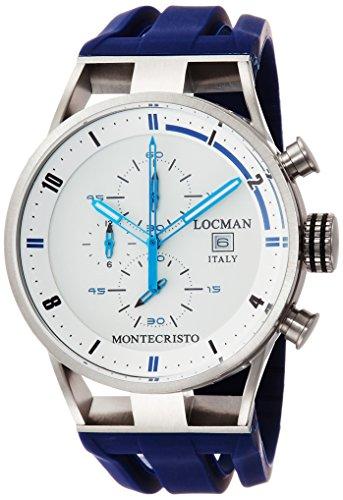 Locman Herren Montecristo/Uhr/Zifferblatt weiß/Gehäuse Stahl und Titan/Armband Kautschuk Blau