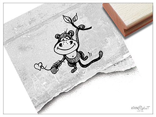 Stempel - Kinderstempel Affe Alfons groß - Motivstempel Bildstempel Geschenk für Kinder - Kita Schule Einschulung Basteln ausmalen Deko - von zAcheR-fineT