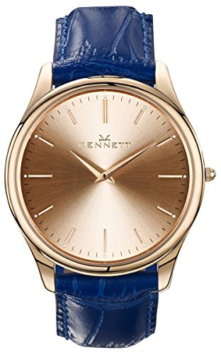 Rose Gold/Royal Blue Kensington Gents Watch by Kennett