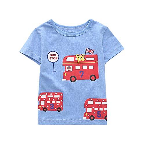 Hirolan Sommer Kinderkleidung Säugling Babykleidung Jungen Sweatshirts Mädchen T-Shirts Neugeborene Unterhemden Karikatur Oberteile Outfits Kleider Kurzarm Bluse Tops (24M-100CM, Blau)