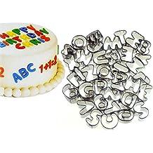 Idealeben Id-8299 - juego de 37 moldes para cortar fondant en forma de letras y números, acero inoxidable