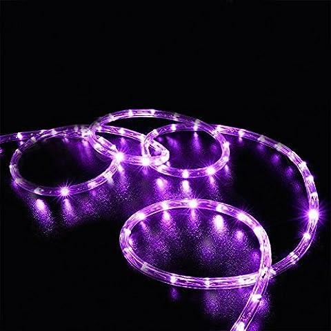 SUAVER 100LED Ruban Lumineux Solaire Lampes de Corde,Imperméable 39ft LED Guirlande lumineuse Fil de Cuivre Tube Rope ,Idéal pour la Jardin/ Halloween/ Noël/ Nouvel An/ Mariages/ décoration (Violet)