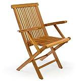 DIVERO Klappstuhl Teakstuhl Gartenstuhl Teak Holz Stuhl mit Armlehne für Terrasse Balkon Wintergarten witterungsbeständig behandelt massiv klappbar natur