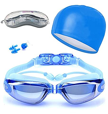 Mirrored Swimming Goggles UV Protection and Anti-Fog Coating for Adults, Children, Men, Women, Kids Fully Adjustable blue