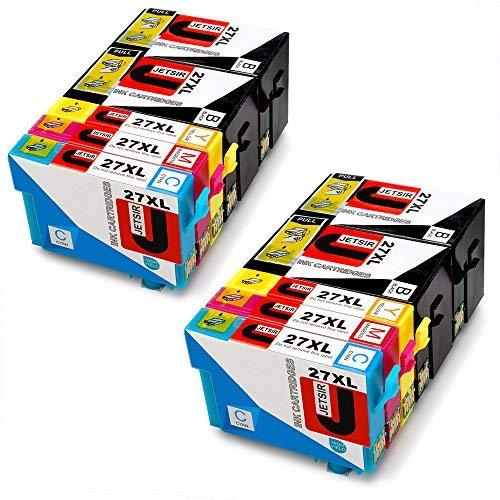 JETSIR Kompatibel Druckerpatronen Ersatz für Epson 27XL, Hohe Ergiebigkeit Kompatibel Mit Epson Workforce WF-3640 3620 7610 7110 7620 Drucker (4 Schwarz, 2 Cyan, 2 Magenta, 2 Gelb)