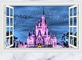 Skyllc® Beau château Star Sky 3D Window View Sitting Room Sofa Backdrop Wall Sticker Art Poster