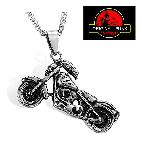 CUIXI Herren Halskette Motorrad Soul Chariot Anhänger Punk Maschinen Hip Hop Edelstahl Schmuck-Neck Link Ketten Für Männer Frauen Jungen Kinder,A(Chainlength:50+5CM) -