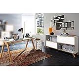 Büromöbel Set BILLUND-01 Pinie weiß, Navarra-Eiche, Schreibtisch, Container, Schiebetüreregale