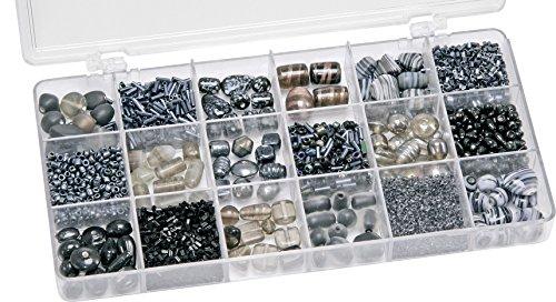 Knorr prandell 216050610 Sortimentsbox Glasperlen (21 x 10,5 x 2,4 cm, 200 g) schwarz