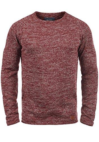 BLEND Dan Herren Strickpullover Rundhalskragen aus hochwertiger Baumwollmischung Meliert Andorra Red (73811)