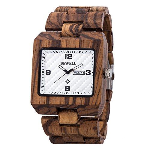 Gute Retro Casual quadratisch Zebra Holz Vein Armbanduhr für Männer Licht Gewicht Analog Tag Datum Japanisches Quarz-Luminous