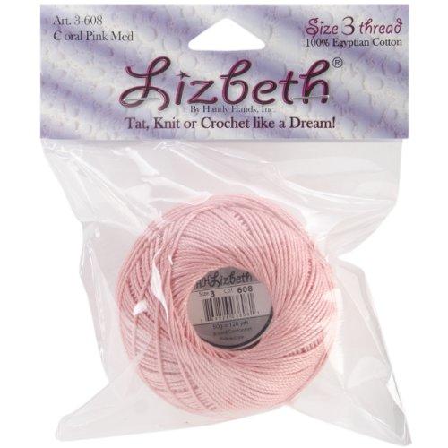 Handy Hands Lizbeth Cordonnet Baumwolle Größe 3-Coral Pink m (Cotton Thread 100% Quilting)