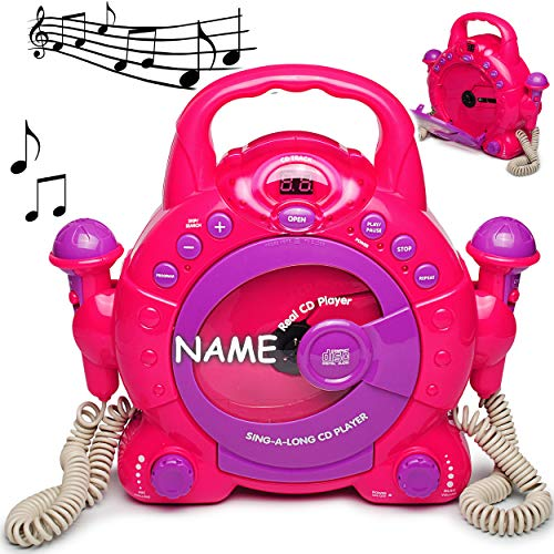 Idena 6805340 Kinder CD-Player - incl. Wunsch Name - Sing-A-Long pink mit 2 Mikrofonen und LED-Display