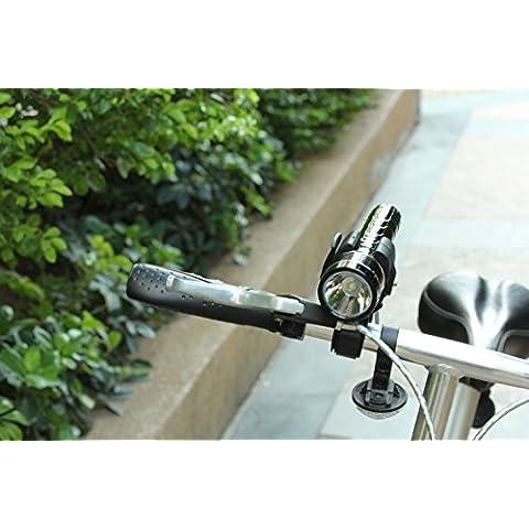 Timorn Reproductor de MP3 Radio FM Mutifunctional linterna Altavoz con tarjeta TF función de cargador de teléfono inteligente banco de la energía combinada de 360 grados de rotación del manillar de la bicicleta montaje de la linterna (radio de la linterna y el Monte Combo Pack)