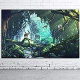 YCOLLC Hayao Miyazaki Princesse Mononoke Anime Film Art Toile Affiches Et Gravures Décor À La Maison Mur Photos pour Le Salon Chambre